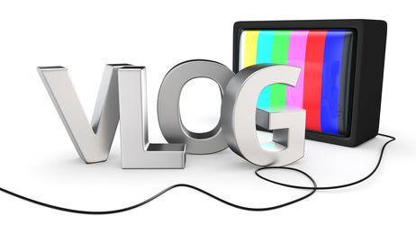 New type of websites — video blog AKA vlog with old-fashion TV set.